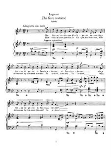 Che fiero costume: For voice and piano by Giovanni Legrenzi