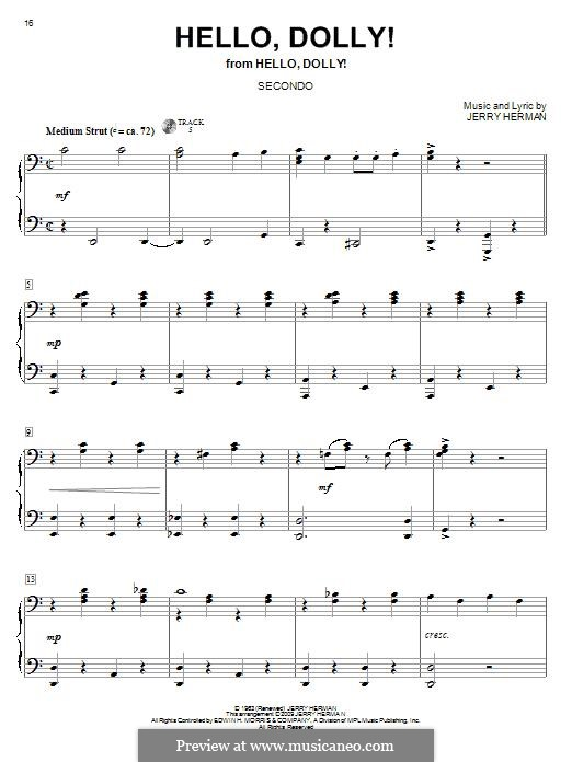 Hello Dolly (Louis Armstrong): For piano by Jerry Herman