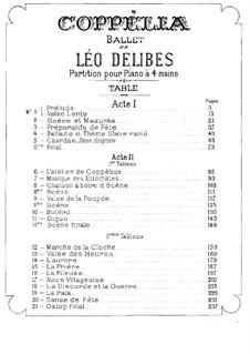Coppélia, ou La fille aux yeux d'émail: For piano four hands by Léo Delibes