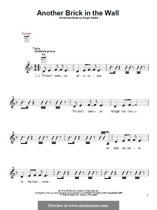 Another Brick in the Wall: For ukulele by Roger Waters
