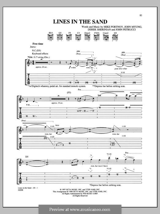 Lines in the Sand (Dream Theater): For guitar with tab by Derek Sherinian, Mike Portnoy, John Petrucci, John Myung
