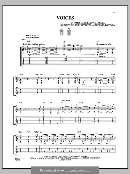 Voices (Dream Theater): For guitar with tab by Mike Portnoy, John Petrucci, John Myung, James LaBrie, Kevin Moore
