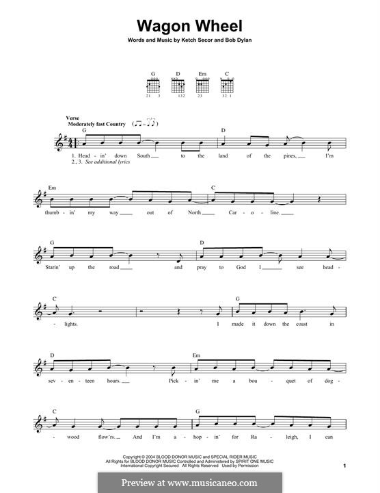 Wagon Wheel (Old Crow Medicine Show): For guitar with tab by Bob Dylan, Ketch Secor