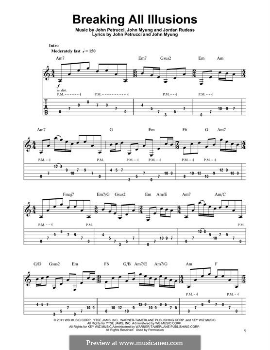 Breaking All Illusions (Dream Theater): For guitar with tab by John Petrucci, John Myung, Jordan Rudess