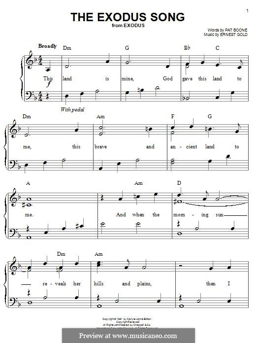 The Exodus Song (Pat Boone): For piano by Ernest Gold