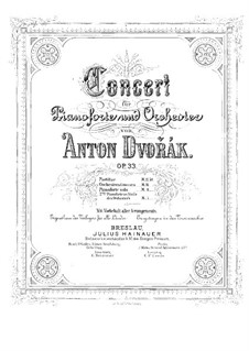 Concerto for Piano and Orchestra in G Minor, B.63 Op.33: Version for two pianos four hands – piano II part by Antonín Dvořák