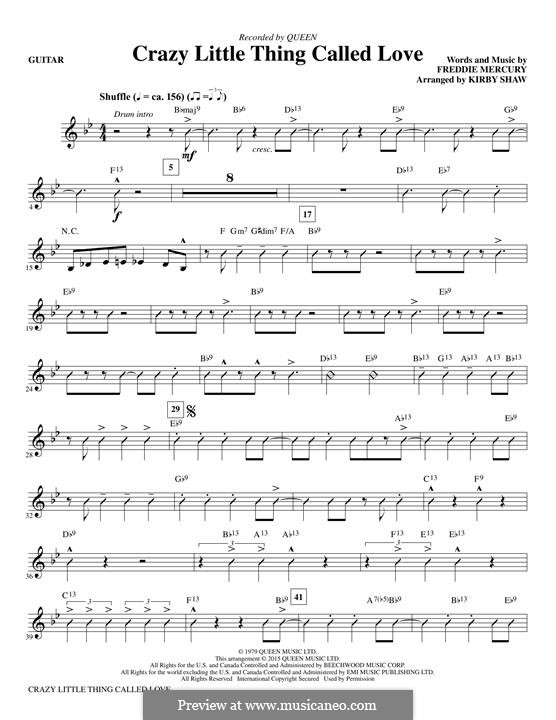Crazy Little Thing Called Love (Queen): Guitar part by Freddie Mercury