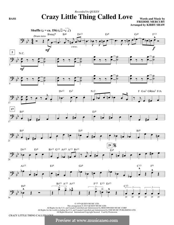 Crazy Little Thing Called Love (Queen): Bass part by Freddie Mercury