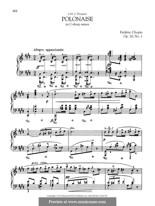 Polonaises, Op.26: No.1 in C Sharp Minor by Frédéric Chopin