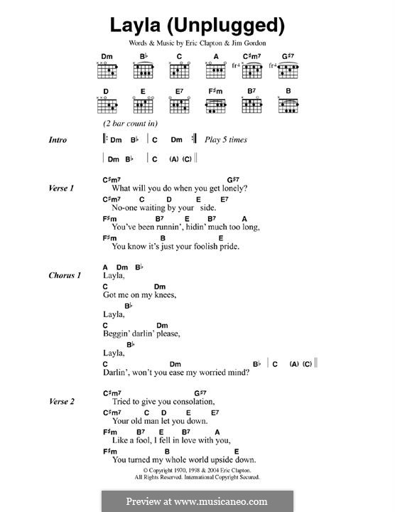Layla (Derek and The Dominos): Lyrics and chords (unplugged) by Jim Gordon