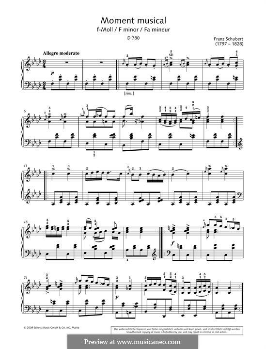 Six Musical Moments, D.780 Op.94: Musical moment No.5 by Franz Schubert