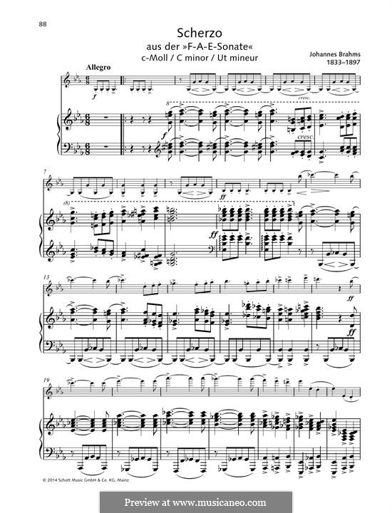 Scherzo in C minor: For violin and piano by Johannes Brahms