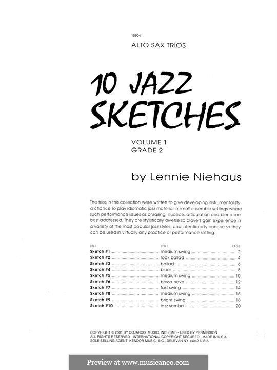 10 Jazz Sketches: Volume 1, alto saxophone by Lennie Niehaus