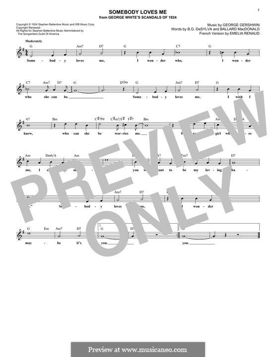 Somebody Loves Me: Melody line by George Gershwin
