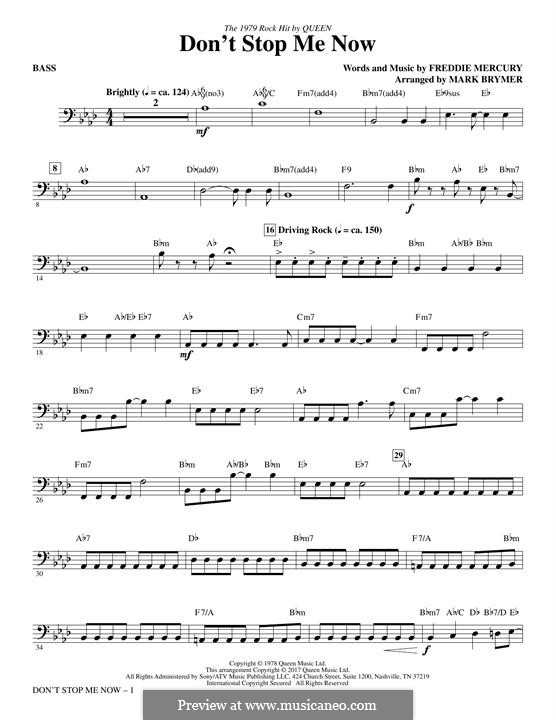 Don't Stop Me Now (Queen): Bass part by Freddie Mercury