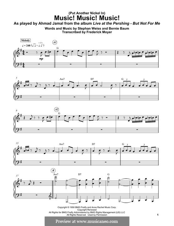 Music! Music! Music! (Put Another Nickel in): For piano by Bernie Baum, Stephen Weiss