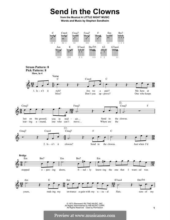 Send in the Clowns (from A Little Night Music): For guitar with tab by Stephen Sondheim
