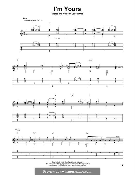 I'm Yours: For guitar with tab by Jason Mraz