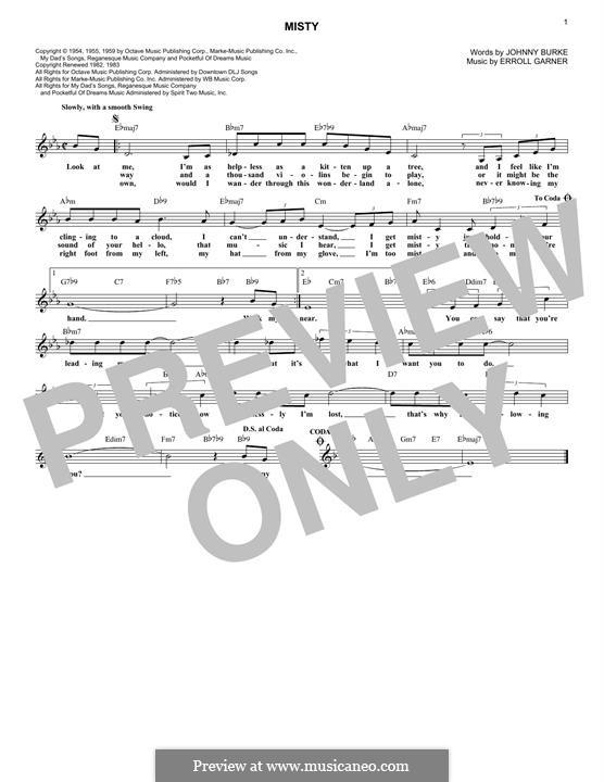 Misty (Johnny Mathis): Melody line by Erroll Garner