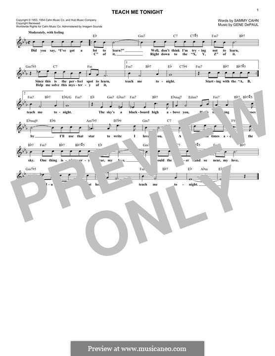 Teach Me Tonight (Frank Sinatra): Melody line by Gene de Paul