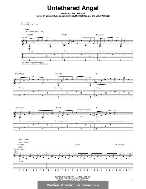 Untethered Angel (Dream Theater): For guitar with tab by Michael Mangini, John Petrucci, John Myung, Jordan Rudess