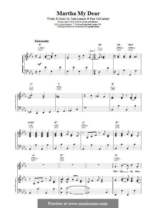 Martha My Dear (The Beatles): For voice and piano (or guitar) by John Lennon, Paul McCartney