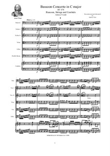 Concerto for Fagotto and Strings in C Major, RV 478: Score and parts by Antonio Vivaldi