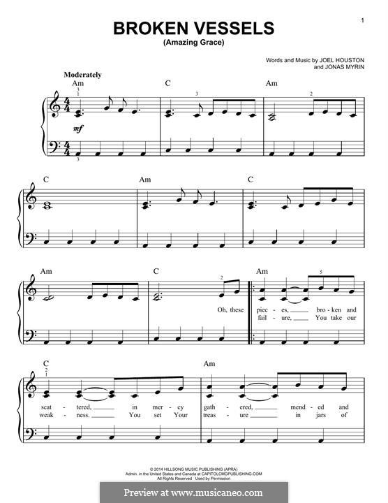 Broken Vessels (Amazing Grace): For piano by Jonas Myrin, Joel Houston