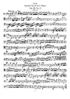 String Quartet No.25 in C Major, Hob.III/32 Op.20 No.2: Cello part by Joseph Haydn