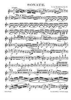 Sonata for Violin and Piano No.5 'Spring', Op.24: Solo part by Ludwig van Beethoven