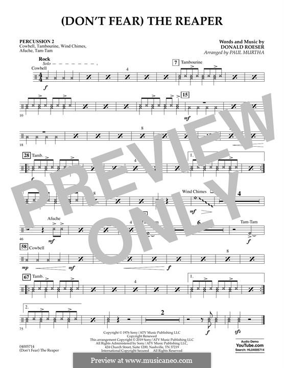 (Don't Fear) The Reaper (Concert Band version): Percussion 2 part by Donald Roeser