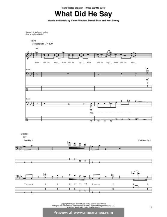 What Did He Say: For bass guitar with tab by Victor Wooten, Kurt Storey, Darrell Blair