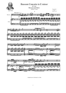 Concerto for Flute and Piano in E Minor, RV 484: Version for bassoon and piano by Antonio Vivaldi