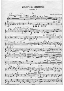Concerto for Cello and Orchestra in B Minor, B.191 Op.104: Trumpet II parts by Antonín Dvořák
