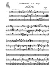 Sonata for Violin and Piano No.35 in A Major, K.526: Score and part by Wolfgang Amadeus Mozart