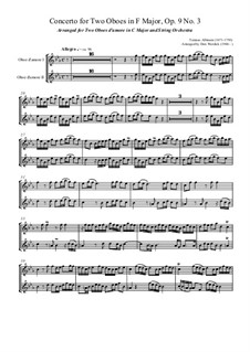 Dodici concerti a cinque, Op.9: Concerto No.3 in F major, for two oboes d'amore and string orchestra (in C Major) – oboe part by Tomaso Albinoni