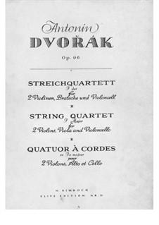 String Quartet No.12 in F Major 'American', B.179 Op.96: Violin I part by Antonín Dvořák