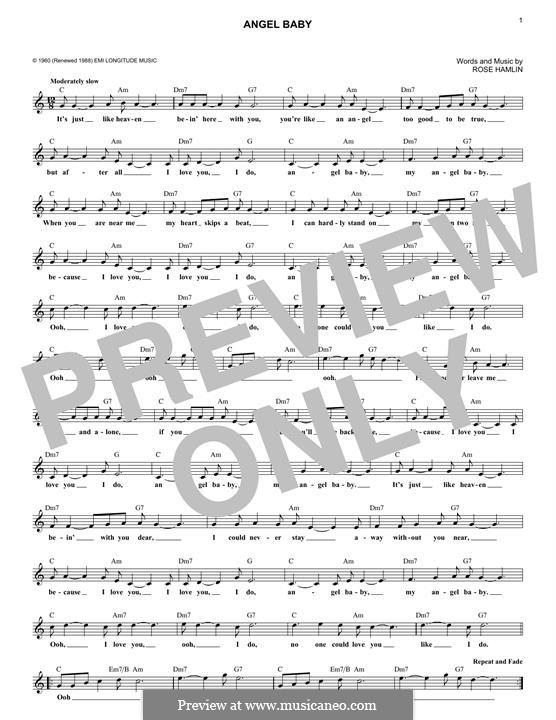 Angel Baby (Rosie & The Originals): Melody line by Rose Hamlin