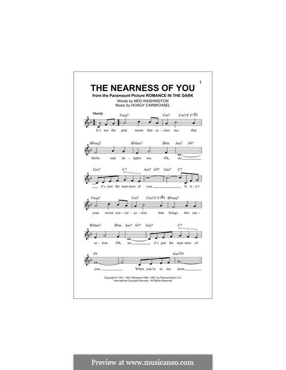 The Nearness of You: Melody line by Hoagy Carmichael