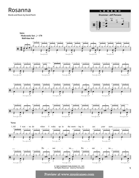 Rosanna (Toto): Drum set by David Paich