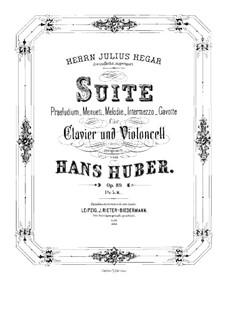 Suite for Cello and Piano, Op.89: Full score by Hans Huber