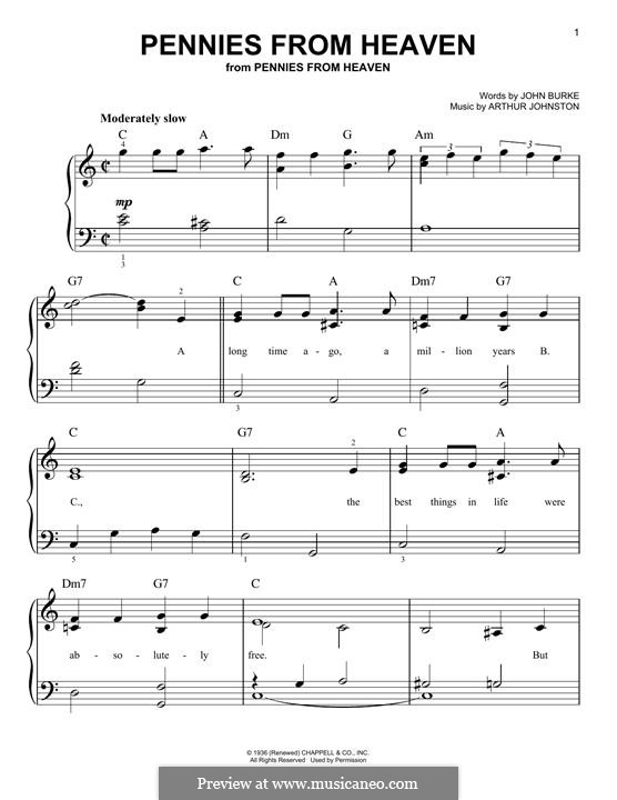 Pennies from Heaven (Bing Crosby): For piano by Arthur Johnston