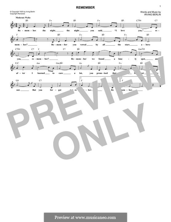 Remember: Melody line by Irving Berlin