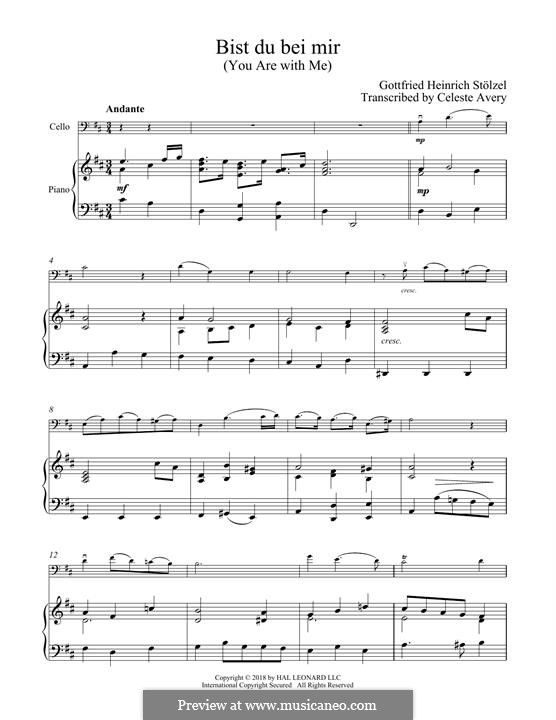No.25 Bist du bei mir (You Are with Me), Printable scores: For cello and piano by Johann Sebastian Bach