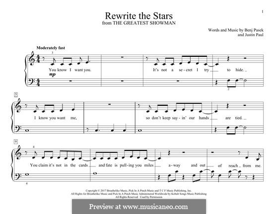 Rewrite the Stars (from The Greatest Showman): For piano by Justin Paul, Benj Pasek