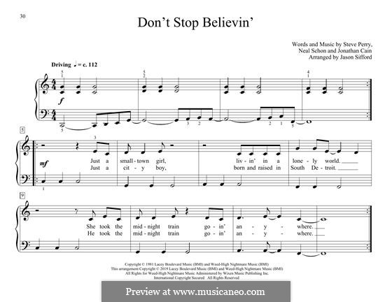 Don't Stop Believin': For piano by Jonathan Cain, Neal Schon, Steve Perry