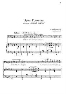 Act III, No.20a Gremin's Aria: For voice and piano by Pyotr Tchaikovsky