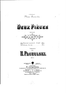 Two Pieces for Piano, Op.11 No.1: No.1 Musical Moment by Henryk Pachulski