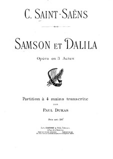Samson and Dalila, Op.47: Piano score by Camille Saint-Saëns
