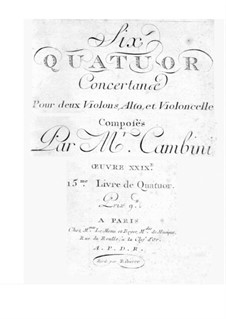 Six String Quartets, Op.29: Parts by Giuseppe Maria Cambini